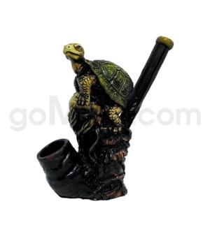 "5"" Ecuadorian Polyresin Pipe - Perched Turtle"