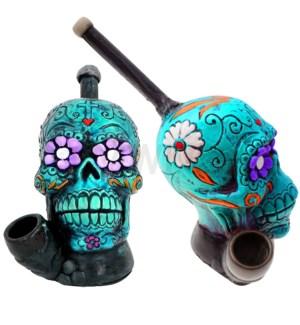 "5"" Ecuadorian Polyresin Pipe - Turquoise Sugar Skull"