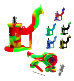 "Silicone 6"" Bent Neck Oil Rig w/ Titanium Nail-Assorted Colo"