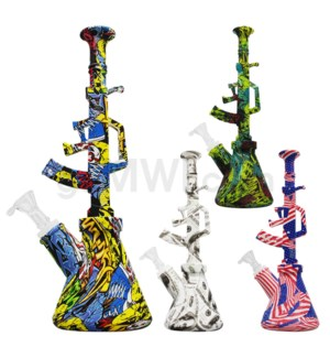 "Silicone 11.5"" AK Waterpipe - Assorted Design"