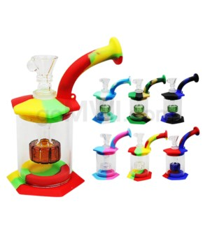 "Silicone 5.5"" Bent Neck Waterpipe - Assorted Colors"