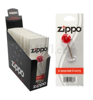 Zippo Flint Display 6 ct to Card 24CT/BX.