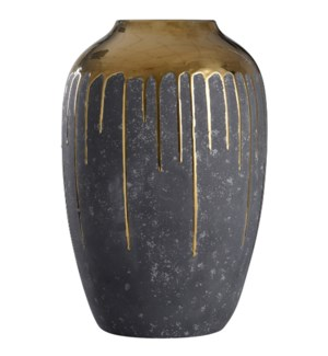 Marloe Gold | 18In Ceramic Vase In Charcoal & Reflective Gold