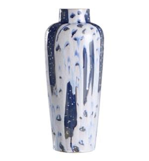 Romani Blue | 20In Ceramic Vase In Reactive Glaze