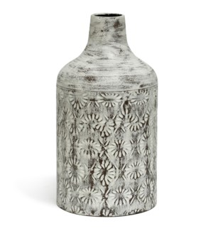 White Washed | 14in x 8in Decorative Floral Metal Vase
