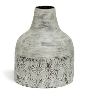 White Washed | 10in x 8in Decorative Floral Metal Vase