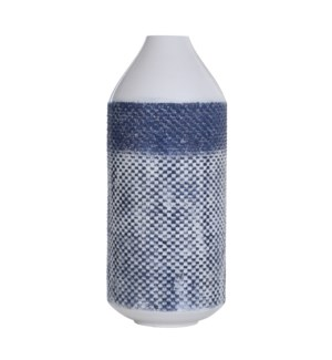 White and Blue Distress | 20in x 8in Traditional Checkered Metal Vase