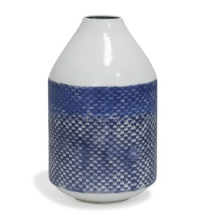 White and Blue Distress | 14in x 8in Traditional Checkered Metal Vase