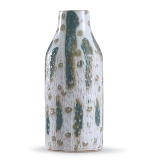 Romani Sage | 18in x 7in Textured Green and White Glazed Ceramic Vase