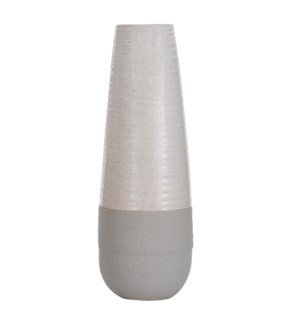 EVIAN IVORY | 6in w X 18in ht X 6in d | Transitional Ceramic Vase with Glossy Top and Concrete Base