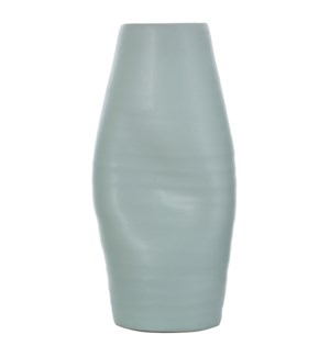 GUZZI MINT | 9in w X 19in ht X 7in d | Light Mint Indented Ceramic Vase