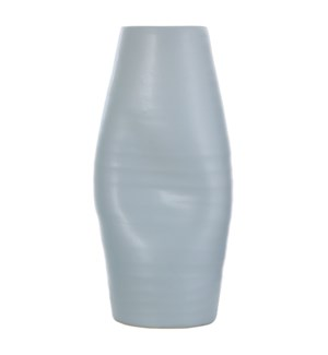GUZZI SPAT | 9in w X 19in ht X 7in d | Light Blue Indented Ceramic Vase