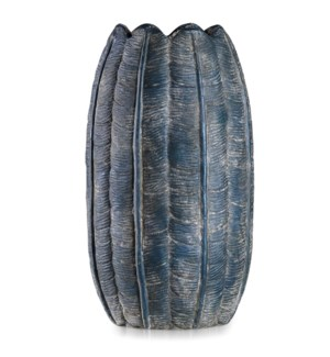 BORDINI BLUE | 10in w X 18in ht X 10in d | Tall Dark Blue Leaf Design Artative Eco Paper Vase