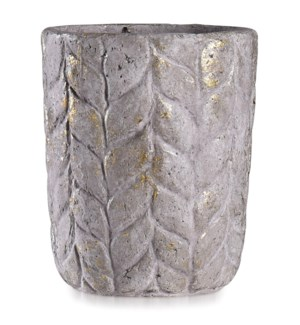 ALCAMN GREY | 12in w X 14in ht X 12in d | Leaf Textured Artative Eco Paper Pot