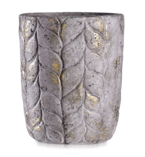 ALCAMN GREY | 14in w X 17in ht X 14in d | Tall Leaf Textured Artative Eco Paper Pot