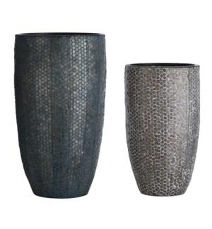 Industrial Stamped | Set of Two | 20in & 16in Ht. Metal Vases