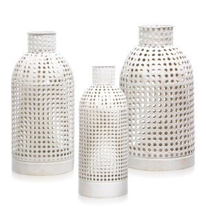 EGG SHELL | 17ht 14ht 12ht | Set of 3 Pierced Metal Open Work Vases