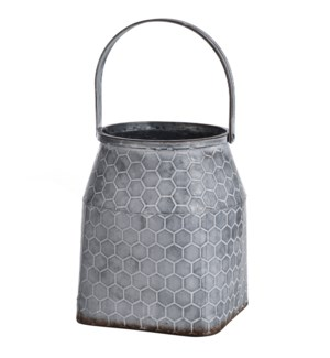 Galvanized | 8in W. X 9in Ht. Metal Vase with Handle
