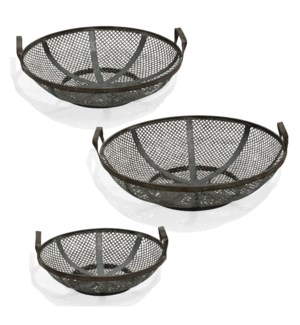 Black Steel | Instustrial Traditonal | Set of Three Metal Baskets