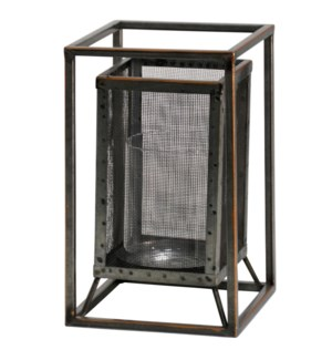 Caged Candle | 6in W. X 10in Ht. Metal Candleholder with Glass Cylinder