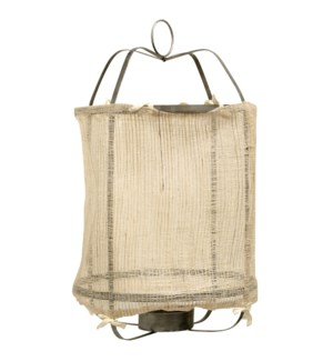 Burlap Lantern | 14in X 14in X 39in Metal Frame Pendant Candle Holder with Inside Glass Cylinday and