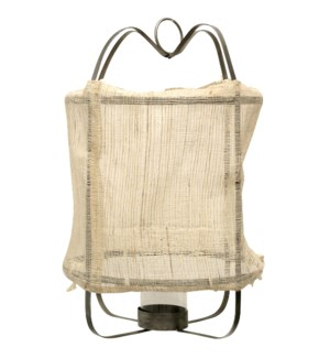 Burlap Lantern | 16in X 16in X 45in Metal Frame Pendant Candle Holder with Inside Glass Cylinday and