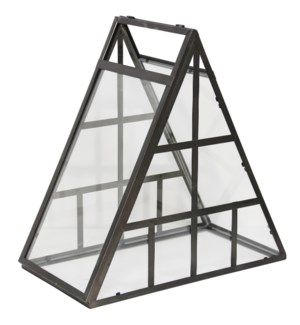 Mini Greenhouse | 21in X 11in X 20in Black Metal with Clear Glass Table Top