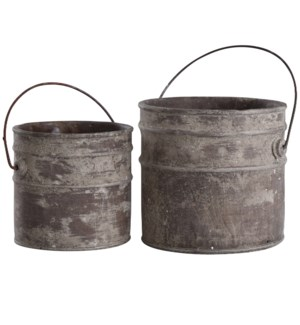 Onley Gray | 8in & 9in Ht Set of 2 Concrete Accessory Buckets with Metal Handles