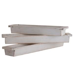 White Wash Wood   Set of 3 Wooden Trays