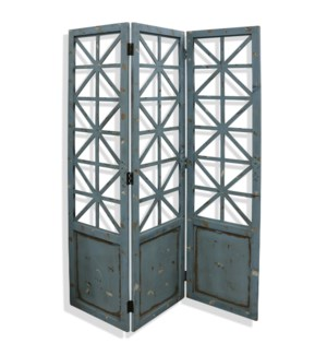 Distressed Blue | 72in x 57in Geometric Wood Floor Screen with Metal Hardware
