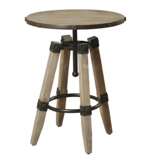 Hanley | 20in X 20in X 26in Industrial Distressed Wooden and Metal Accent Table with 4 Wood and Meta