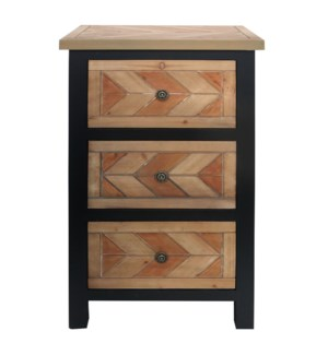 CHEVRON NATURAL | 19in w. X 32in ht. X 16in d. | Three Drawer Wooden Chest with Metal Hardware