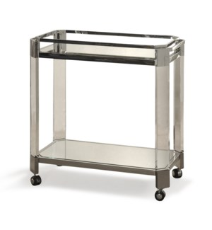 Polished Stainless Steel | 32in X 17in X 31in Stainless Steel and Acrylic Transitional Bar Cart