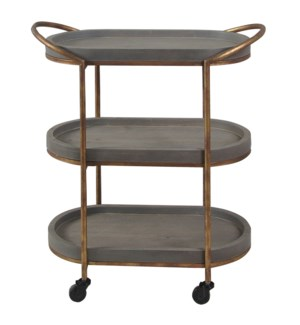 SLATE TIER | 28in w. X 32in ht. X 14in d. | Three Tier Serving Cart with Rolling Casters
