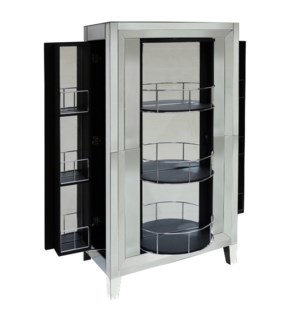 CLEAR MIRROR | 33in w. X 30in ht. X 16in d. | Single Action Elegant Bar Cabinet with Lazy Susan Fron