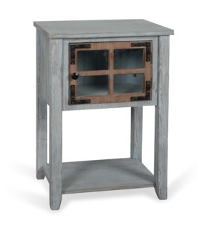 Weathered Wood | 19in X 14in X 27in Antique Blue and Weathered Wood Side Table with MDF Door and Sol