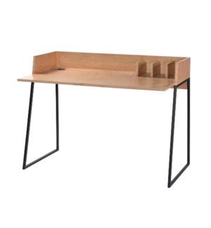 BLONDE WOOD DESK   Wooden Desk Top & Metal Framed Legs Minimal Design Secretary Station with Documen
