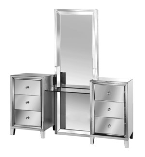MIRRORED ELEGANCE | 70in ht X 66in w X 20in d | Three Piece Mirrored Vanity with Clear Glass Counter
