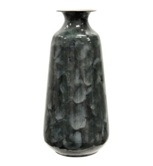 MIDNIGHT METAL | 18in | Hand Painted Gloss Finish Metal Vase | Made in India