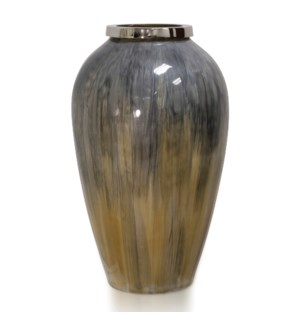 HANDMADE  GLASS | Made in India | 17in X 10in | Elegant Artistic Hand blown India Glass Vase with Go
