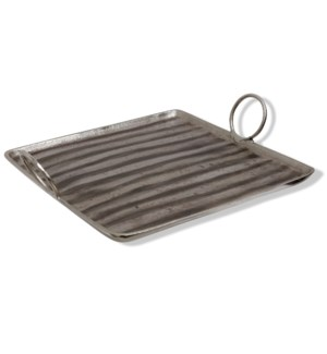 ALUMINUM TRAY SMALL | 17in X 19in | Stylish India Metal Tray with Circular Handles