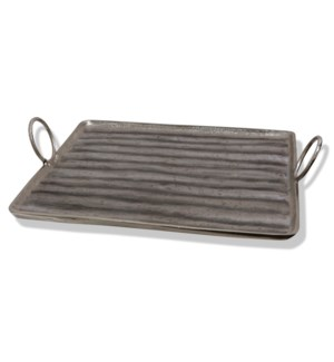 ALUMINUM TRAY LARGE | 22in X 20in | Stylish India Metal Tray with Circular Handles