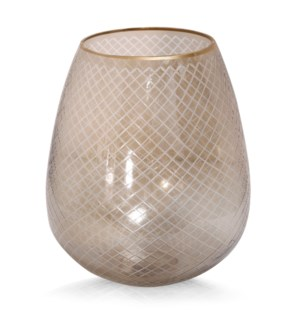 LIGHT AMBER HURRICANE SMALL | 11in w. X 12in ht. X 11in d. | Etched Net Design Glass Goblet in Amber