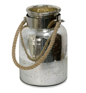 SILVER ANTIQUE  | 8in w. X 12in ht. X 8in d. | Half Etched Glass Lantern Jar with Chrome Metal Band