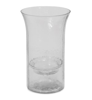 CLEAR CANDLE PILLAR MEDIUM | 8in w. X 13in ht. X 8in d. | Round Rippled Clear Glass Vase with Remova