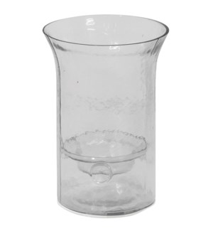 CLEAR CANDLE PILLAR SMALL | 7in w. X 10in ht. X 7in d. | Round Rippled Clear Glass Vase with Removab