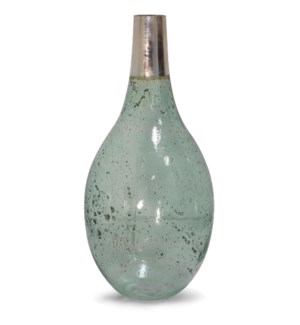 SEEDED SAGE | 11in w. X 22in ht. X 11in d. | Green Tinted Glass Vase Accessory with Nickel Plated Ne