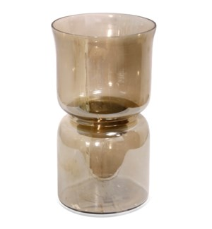 AMBER CANDLE PILLAR SMALL | 8in w. X 14in ht. X 8in d. | Tinted Glass Candle Holder with Gold Band C