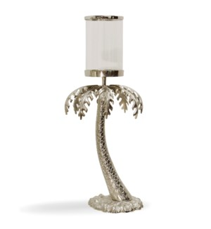 NICKEL PLATED PALM MEDIUM | 17in w. X 41in ht. X 17in d. | Plated Metal Palm Tree Sculpture with Cle