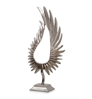 NICKEL PLATED LEAFLET MEDIUM | 10in w. X 25in ht. X 5in d. | Feathered Metal Sculpture on Platform B